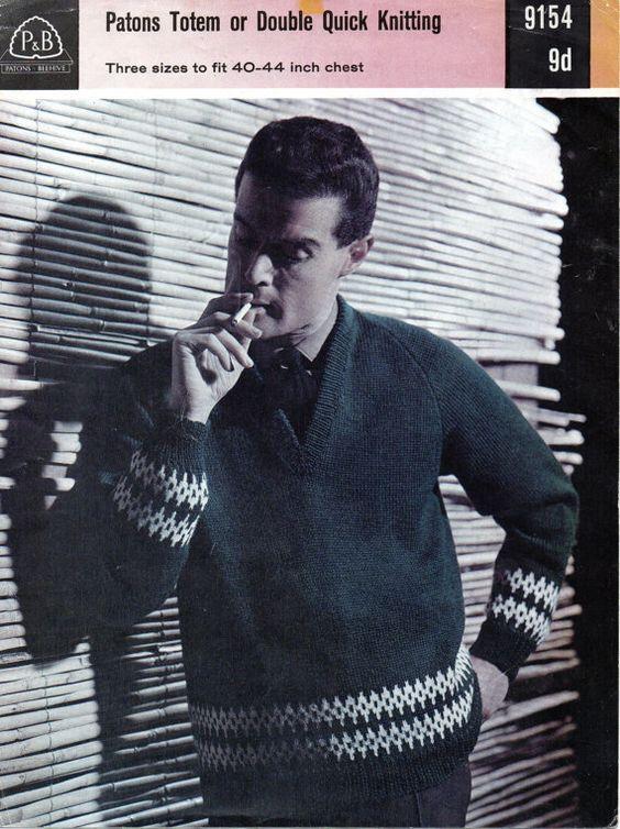 1960's  VINTAGE Mens Patterned VNeck Jumper  40 to 44 by Hobohooks, £1.20