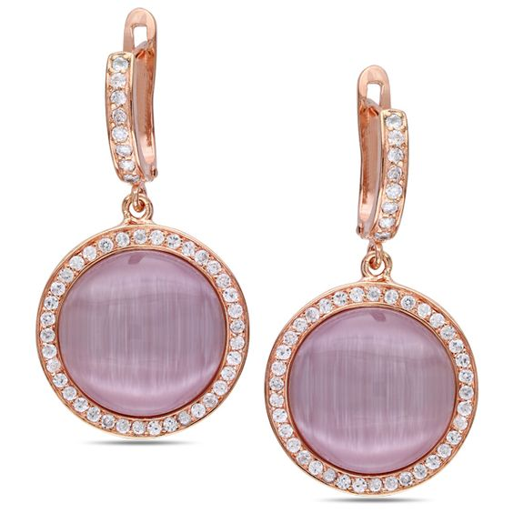 Miadora Pink Rhodium Plated Silver Simulated Cat Eye and Cubic Zirconia Earrings Women's