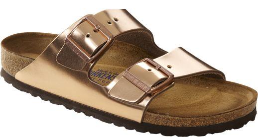 Birkenstock Arizona metallic leer koper, zacht voetbed