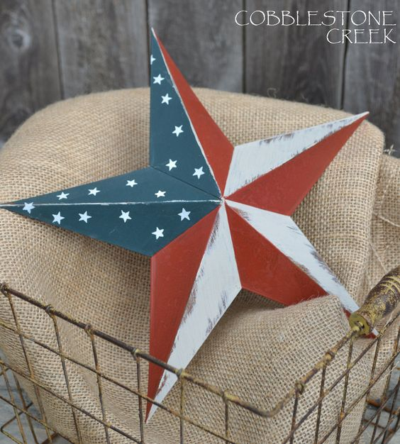 12 metal americana star red white blue painted patriotic primitive shabby chic home decor stars and stripes