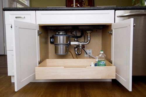 Design an easy-clean Kitchen - Houzz  Like the drawer under the sink! Good suggestions for worktop, backsplash and floor...