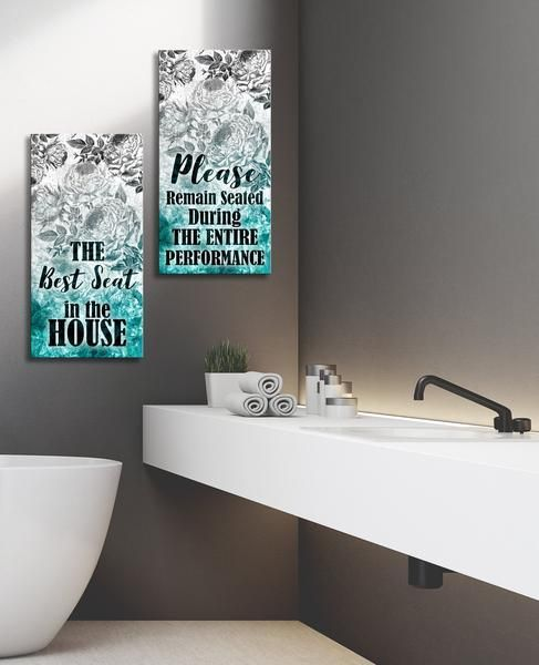 Bathroom Wall Art Best Seat Remain Seated 2 Piece Bathroom Wood Frame Ready To Hang Wood Bathroom Bathroom Wall Decor Art Bathroom Art Decor