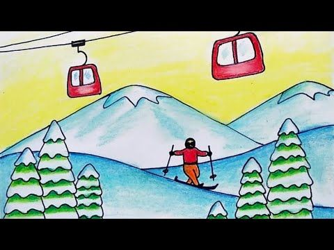 How To Draw Winter Season Scenery Easy Drawing Of Hill Station Snow Skier Drawing Youtube Easy Drawings Drawings Hill Station