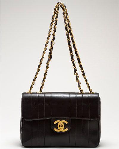 Chanel Black Jumbo Vertical Lambskin Flap Bag - please and thank you.