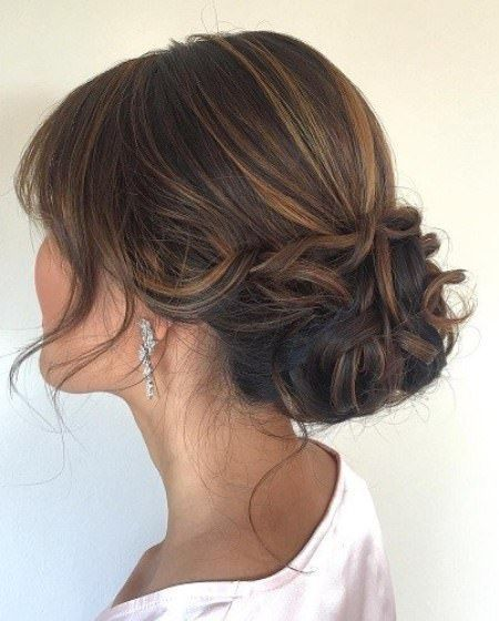 Curly Low Updo With Bangs Updos For Thin Hair Updos For Medium Length Hair Thin Hair Updo Medium Hair Styles