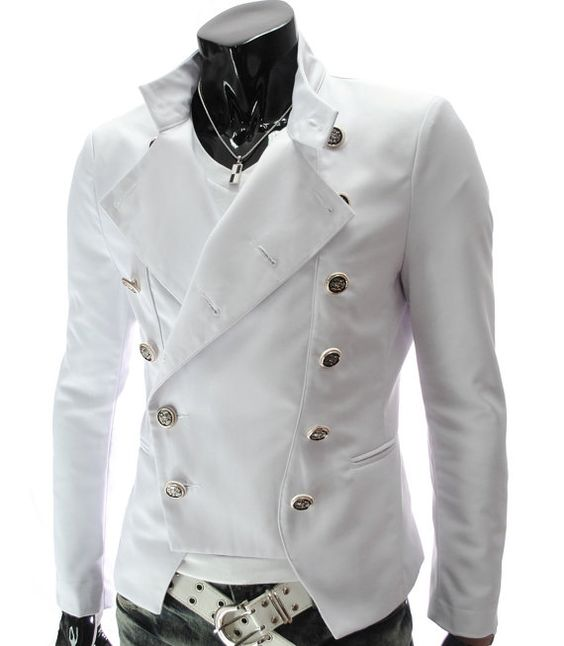 handmade Men white military design Leather Jacket by ukmerchant