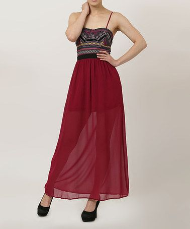 Take a look at this Burgundy & Black Geometric Camisole-Top Maxi Dress on zulily today!