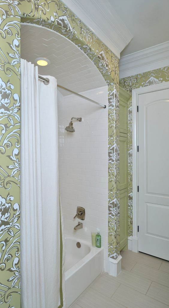 Showhouse Bathroom For A Teenage Girl Subway Tile Wallpaper Shower Curtain Green My Work