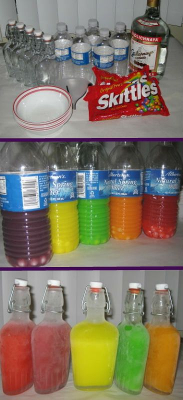 Skittles Vodka Tutorial....oooohhh, must make these one day....