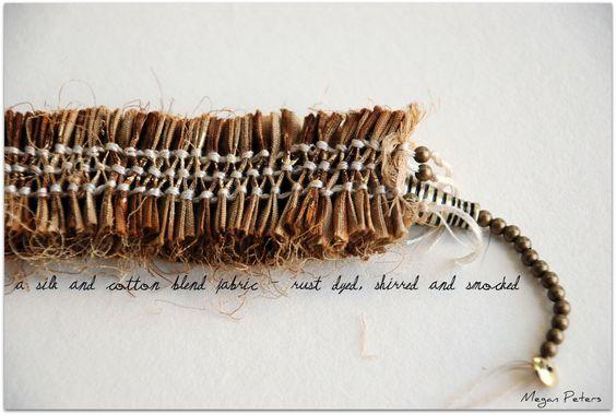 kleidersachen, hand pleated rust dyed fabric