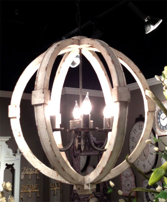 Wooden sphere chandelier google search lighting pinterest antiqued white distressed cottage wood orb chandelier aloadofball Image collections