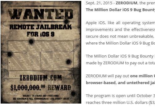 """Zerodium: 1 Million Dollar Preisgeld für iOS 9.1 Zero-Day-Exploit - https://apfeleimer.de/2015/11/zerodium-1-million-dollar-preisgeld-fuer-ios-9-1-zero-day-exploit - Einem anonymen Hacker-Team soll es gelungen sein, sich die 1-Million Dollar Belohnung für einen Zero-Day-Exploit im iOS 9.1 und iOS 9.2b zusichern. Der Preis wird von Zerodium vergeben, die ihre Exploits in erster Linie an """"Großkunden"""" wie die NSA verkauft. Vorgabe: Jailbreak aus der Ferne Um sic..."""