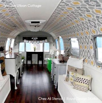 Airstream Interior Design Painting Inspiration Chez Ali Moroccan Wall Stencil  Wall Stenciling Stenciling And . 2017