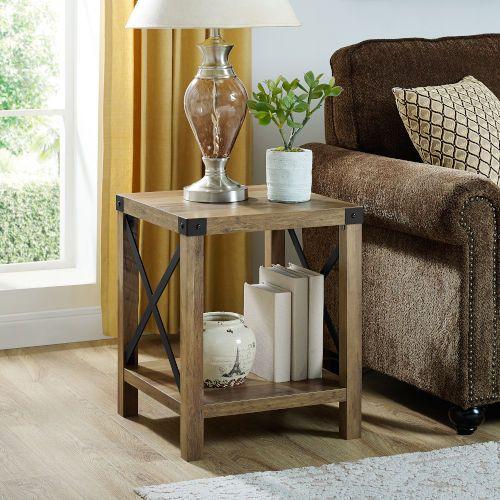 Walker Edison Furniture Co Af18mxstro Rustic Oak Side Table Bellacor Oak Side Table Farm House Living Room Family Room Design