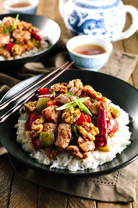 Kung Pao Chicken with Honey Glazed Walnuts - No need for take-out with this…: