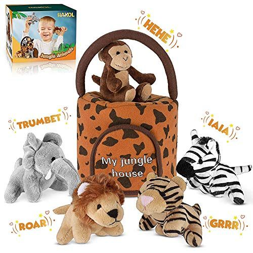 Amazon Com Hakol Jungle Friends Talking Plushie Set For 1 Year Old Up Boy Girl Baby Re Animal Plush Toys Old Teddy Bears Pet Toys