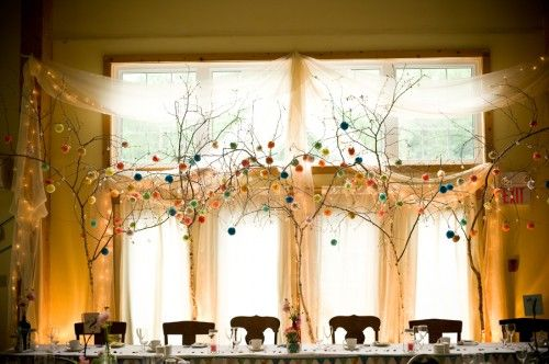 @Wendy Bloss -this is darn cute, too.Tiny little pompoms hanging from great big branches, centerpieces made up of thrift store finds, and there's even the tiniest bunting banner stretched across the front of the table. So. CUTE.