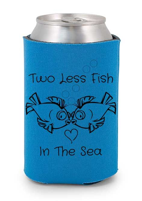 Wedding koozies fish and the o 39 jays on pinterest for Two less fish in the sea