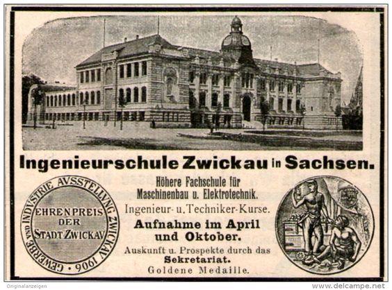 Original-Werbung / Inserat / Anzeige 1907 - INGENIEURSCHULE ZWICKAU IN SACHSEN - ca. 85 x 60 mm