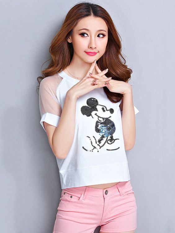 Cartoon Mickey Print Short Sleeve T-shirt with Mesh Accent