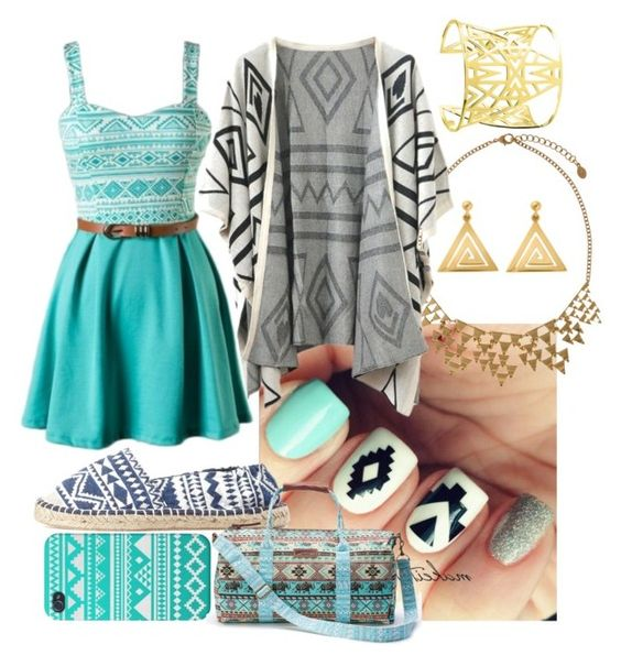 """""""Aztec Blue"""" by trinityhuckaby ❤ liked on Polyvore featuring mode, Accessorize, Chicnova Fashion, Charlotte Russe, UNIONBAY et ChloBo"""