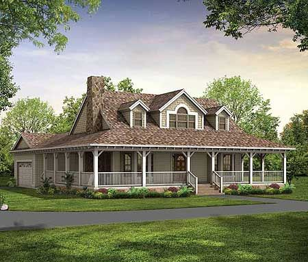 Farmhouse porches and wrap around porches on pinterest for Farmhouse plan with wrap around porch