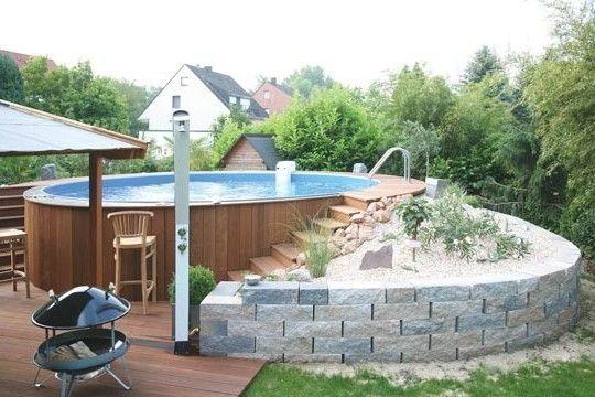 Stahlwand Pool Verkleiden Sich Loopele Pool Mit Holz Verkleiden Sich Pesmix Im Pool Garten Garten Hol Pool Landscaping Garden Pool Pool Design Modern