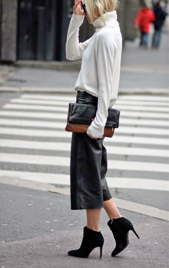 Fashion: Fall / Winter. Black leather culottes with ankle boots.: