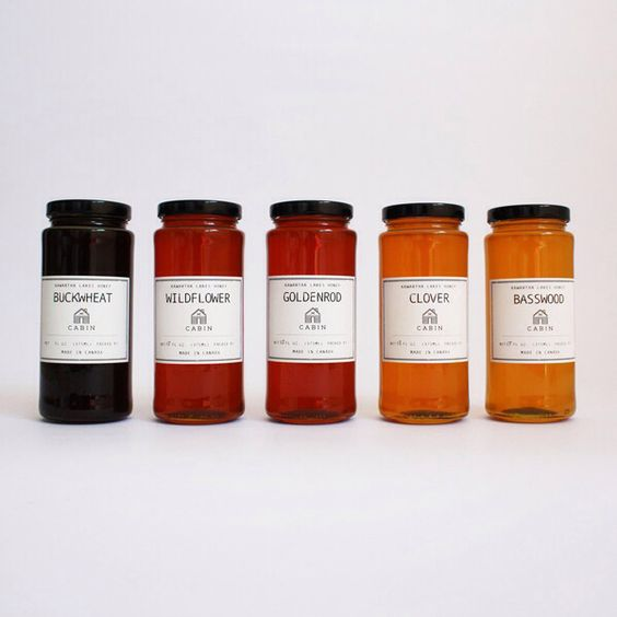 Kawartha Lakes Honey (13 oz. jars), available in Buckwheat, Goldenrod, Wildflower, Clover, and Basswood