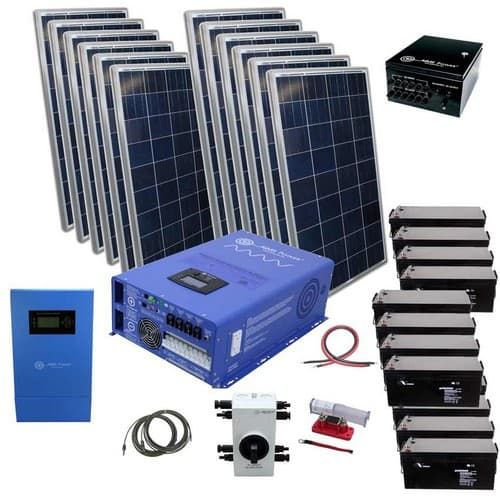 3300 Watt Solar With 8 000 Watt Pure Sine Power Inverter Charger 48vdc 120 240vac Off Grid Kit Solar Kit Off Grid Solar Solar