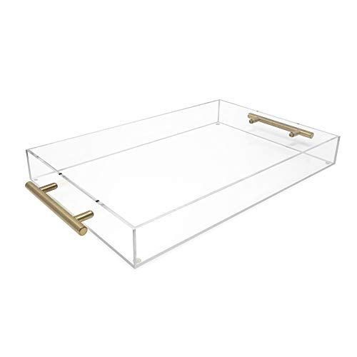 Isaac Jacobs Clear Acrylic Serving Tray 11x17 With Gold Metal Handles Spill Proof Stackable Organizer Spa In 2020 Acrylic Serving Trays Gold Handles Clear Acrylic