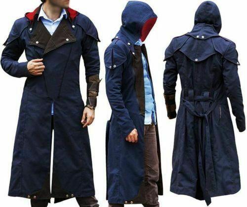 Unity Creed Arno Assassin/'s Dorian Denim Blue Cloak Cosplay Coat Outfit For Men