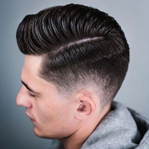 Hard Side Part Pompadour #Menshairstyles | Pompadour haircut ...