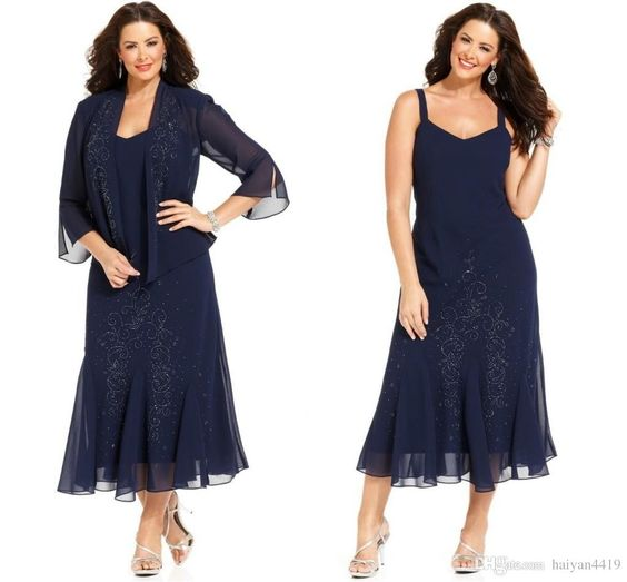 2016 Mother of the Bride Dresses V Neck Long Sleeves Navy Blue Chiffon Crystal Beaded Tea Length Plus Size Wedding Guest Gowns With Jacket Wedding Guest Dress Plus Size Mother of Groom Dresses 2017 Mother of the Bride Online with 156.58/Piece on Haiyan4419's Store   DHgate.com