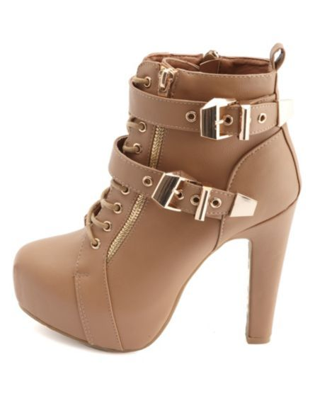 Lace-Up Belted Platform Booties: Charlotte Russe.......I need these in my life pronto