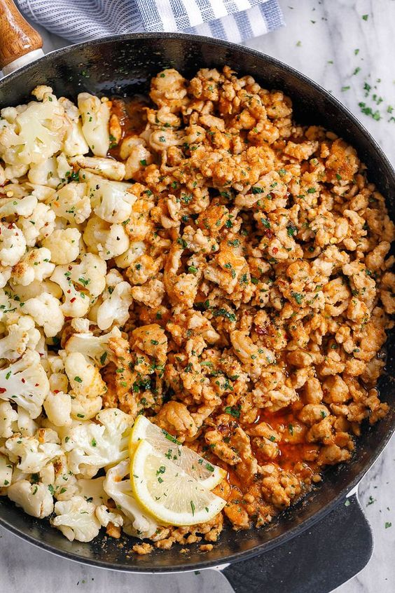 Garlic Butter Ground Turkey with Cauliflower Skillet