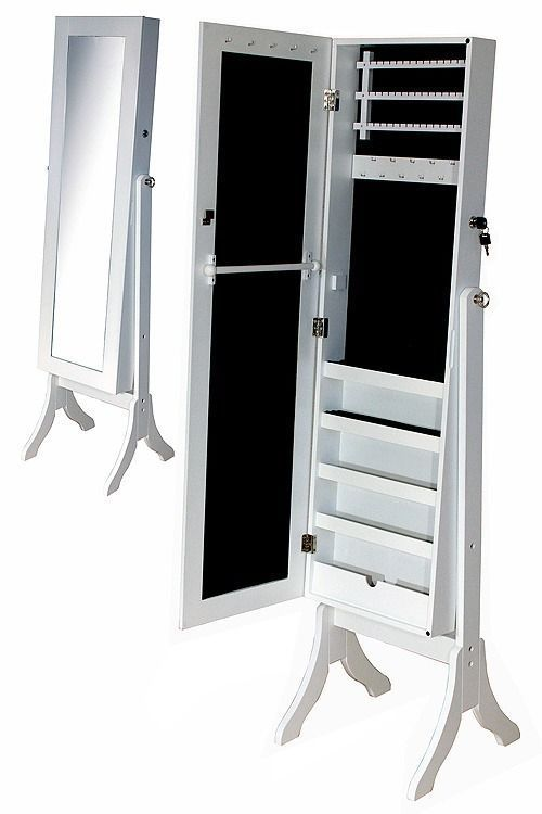 Joyero espejo de cuerpo entero en madera y gran capacidad for Espejo cuerpo entero vintage
