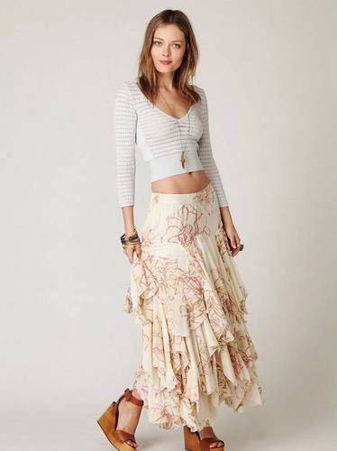 $268 Free People Floral Layered Godet Maxi Skirt