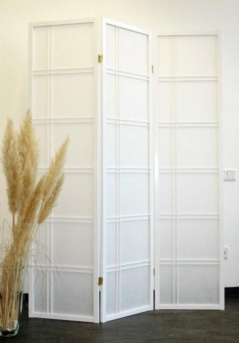 Shiro Room Divider Screen White 3 Panel