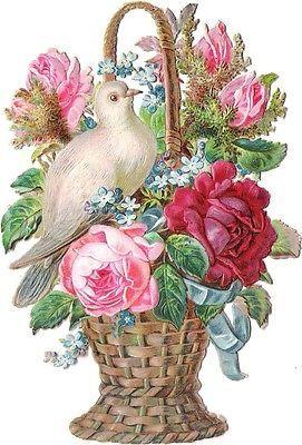 271px × 400px (scaled to 433px × 640px) Glanzbilder - Victorian Die Cut - Victorian Scrap - Tube Victorienne - Glansbilleder - Plaatjes : Blumenkörbe mit Tauben - flower baskets with doves - fleurs panier avec des colombes