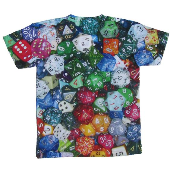 Our critical hit nerdy kid's t-shirt featuring sharp, photorealistic tabletop gaming dice is printed back and front on 100% baby-soft high-quality polyester.: