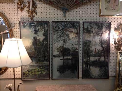 Asian Tryptic Serene Scenes on Silk - $250