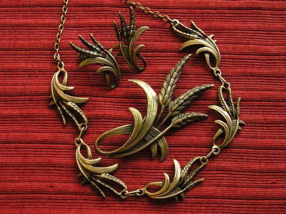 Sterling Silver Wheat Necklace, Brooch, Earrings Set