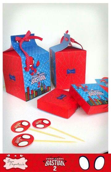 Fiesta Spiderman Baby - Loncheritas y cajitas para torta
