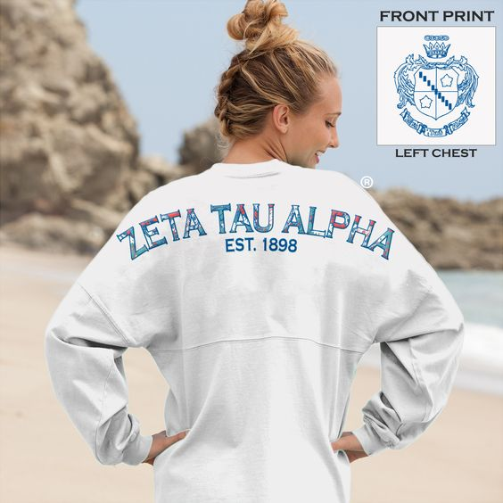 Zeta tau alpha spirit jersey with preppy print! These colors look sooo nice on the white!