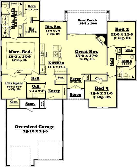 Ranch Style House Plan 3 Beds 2 Baths 2000 Sq Ft Plan