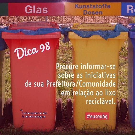 Faça sua parte! Recicle! #eusoubg #labhidroufrj #baiadegunabara #guanabara #guanabarabay #água #reciclagem