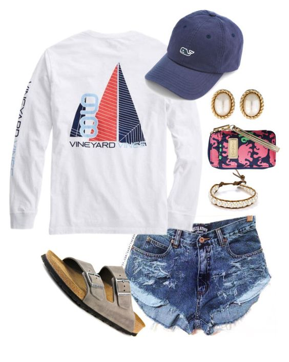 """""""Our weather is bipolar"""" by madelyn-abigail ❤ liked on Polyvore featuring Vineyard Vines, Birkenstock, Chan Luu, Christian Dior and Lilly Pulitzer"""