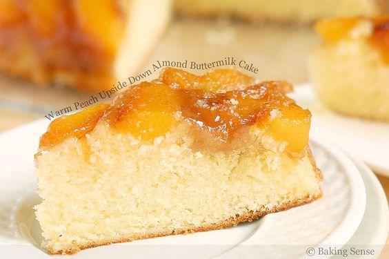 Nuevo post en #foodporn mag: Al revés melocotón caliente abajo de mantequilla de almendra Pastel