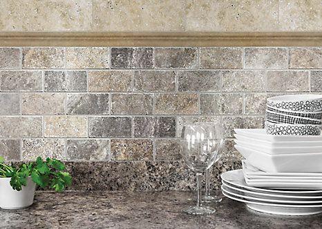 Sassi 2 Inchx4 Inch Silver Grey Tumbled Brick Mosaics The Home